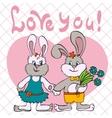 bunnies love girl and boy vector image