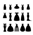collection silhouettes of black dresses on white vector image