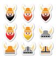 Viking warrior in helmet icons set vector image