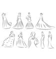 Bride Silhouette set Sketch bride the bride in a vector image