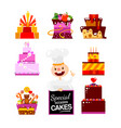 flat cakes collection with confectioner vector image