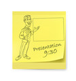 yellow sticker with man and organizing vector image vector image