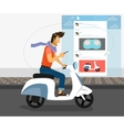 Funny handsome guy rides white bike vector image