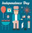 Flat Icons Set of Independence Day vector image
