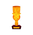 gold trophy cup with star golden first place vector image