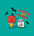 halloween card with stylish lettering - trick or vector image
