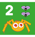 Number 2 - Spider with two small flies vector image