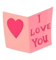 Postcard I love you icon cartoon style vector image
