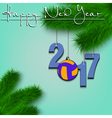 Volleyball and 2017 on a Christmas tree branch vector image