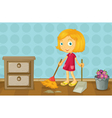 A girl cleaning a room vector image