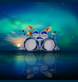 abstract music background with sunrise drum kit vector image