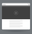 Flat browser window with video player online vector image vector image