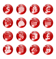 Set of icons of red color on a subject bank vector image