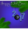 Bowling ball and 2017 on a Christmas tree branch vector image