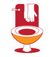 cleaning gloves and toilet icon vector image