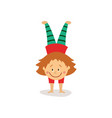 flat girl doing handstand exercise isolated vector image