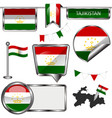 Glossy icons with flag of tajikistan vector image