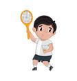 little boy in tennis uniform holding racket vector image