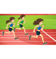 Three women running in the track vector image