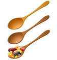 wooden spoons with mixed fruit vector image