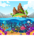 Scene with fish under the ocean vector image