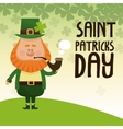saint patricks day leprechaun smoking tobacco pipe vector image