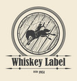 whiskey label with barrel and rodeo rider vector image