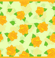 yellow rose with green leaf seamless pattern vector image