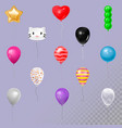 Different shape and color happy birthday balloons vector image