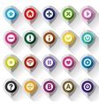 Map colored icons on folded from gray paper vector image