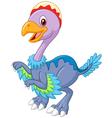Cartoon happy archaeopteryx waving vector image