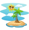 Tropical island with smiling sun vector image vector image