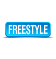 freestyle blue 3d realistic square isolated button vector image