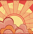 Cartoons sky background with sunRetro image vector image vector image