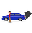 cartoon man standing car with smoke exhaust pipe vector image