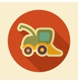Combine harvester retro flat icon with long shadow vector image