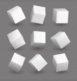 cube 3d models in perspective realistic white vector image