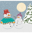 Vintage christmas poster with snowmen vector image