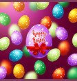 colorful eggs with calligraphy happy easter vector image