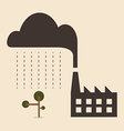 Acid rain cause from industry pollution falling to vector image