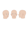Human heads full-face half-face and three-quarter vector image vector image