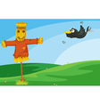 Crow and scarecrow vector image