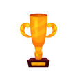 gold winner cup on a pedestal golden first place vector image