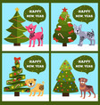 happy new year banners with dotted puppy tree set vector image