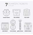 icons set of domestic robots in line art vector image
