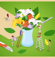 isometric people making bouquet of flowers vector image