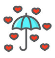 love umbrella filled outline icon valentines day vector image