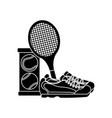 tennis racket sneakers and balls equipment vector image