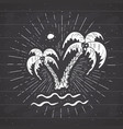 vintage label hand drawn palm trees grunge vector image