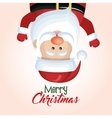 santa claus hanging merry christmas isolated vector image
